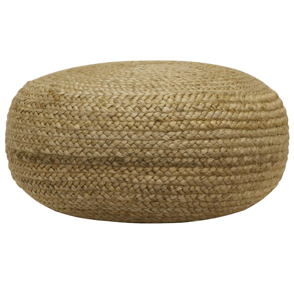 Incredible Decor Therapy Pouf Natural Woven Ottoman Fr7466 The Home Depot Gmtry Best Dining Table And Chair Ideas Images Gmtryco