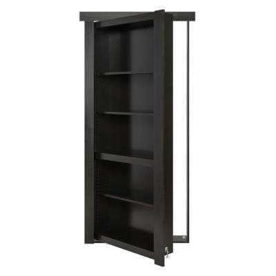30 in. x 80 in. Assembled Black Painted Flush Mount Bookcase Wood Single Prehung Interior Door