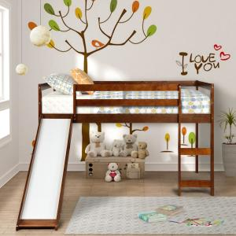 Harper & Bright Designs Wood Twin Loft Bed with Slide (Walnut)