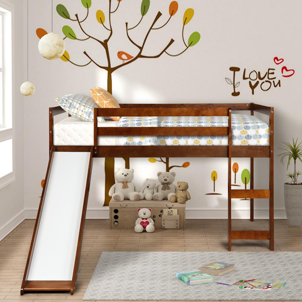 Walnut Wood Twin Loft Bed with a Slide
