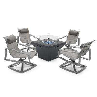 Solara 5-Piece Sunbrella Sling Patio Fire Pit Deep Seating Set