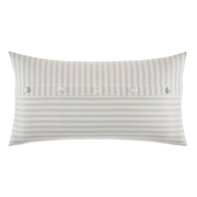 Saybrook Beige Cotton Button 14 in. x 26 in. Decorative Pillow