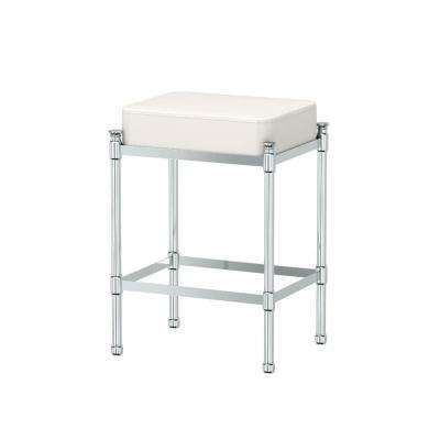 14.25 in. x 19.5 in. Bath Vanity Stool in Chrome