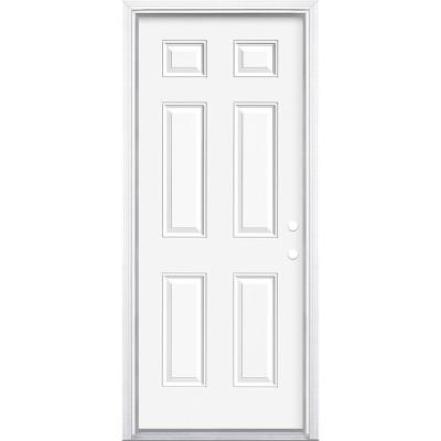 32 in. x 80 in. Premium 6-Panel Left Hand Inswing Primed Steel Prehung Front Door with Brickmold
