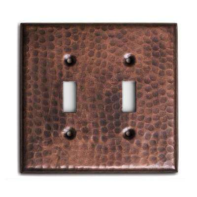 Pure Hand Hammered Double Toggle Wall Plate, Copper