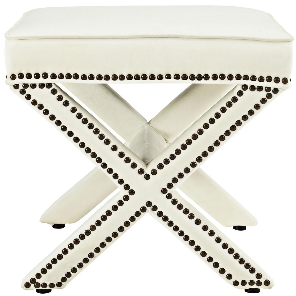 Magnificent Modway Rivet Ivory Bench Eei 2324 Ivo The Home Depot Creativecarmelina Interior Chair Design Creativecarmelinacom