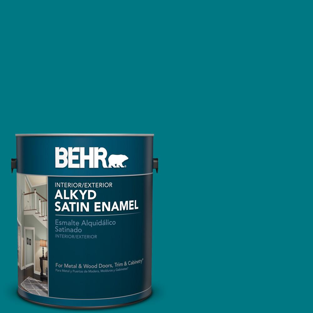 1 gal. #P470-7 The Real Teal Satin Enamel Alkyd Interior/Exterior Paint