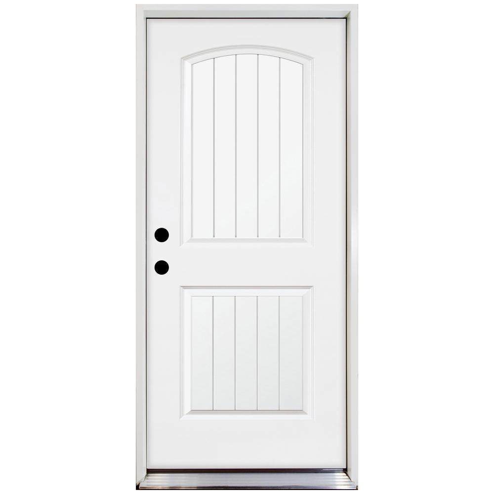 Steves & Sons 36 in. x 80 in. Premium 2-Panel Plank Primed White Steel Prehung Front Door w/ 36 in. Right-Hand Inswing and 6 in. Wall