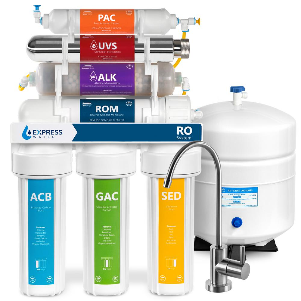 Express Water Alkaline UV Under Sink Reverse Osmosis Water Filtration System - 11 Stage UV Mineral Filter w/ Faucet and Tank - 100 GPD