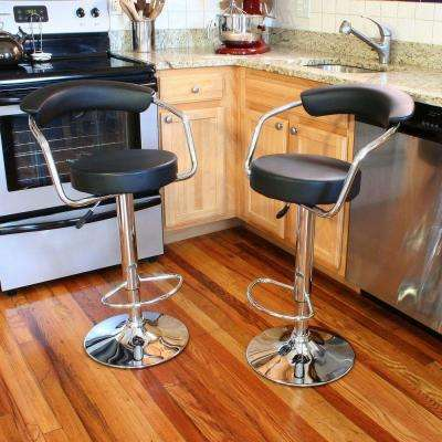 Adjustable Height Dark Champagne Swivel Cushioned Bar Stool