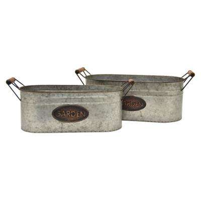 8.5 in. Gray Galvanized Planters (Set of 2)