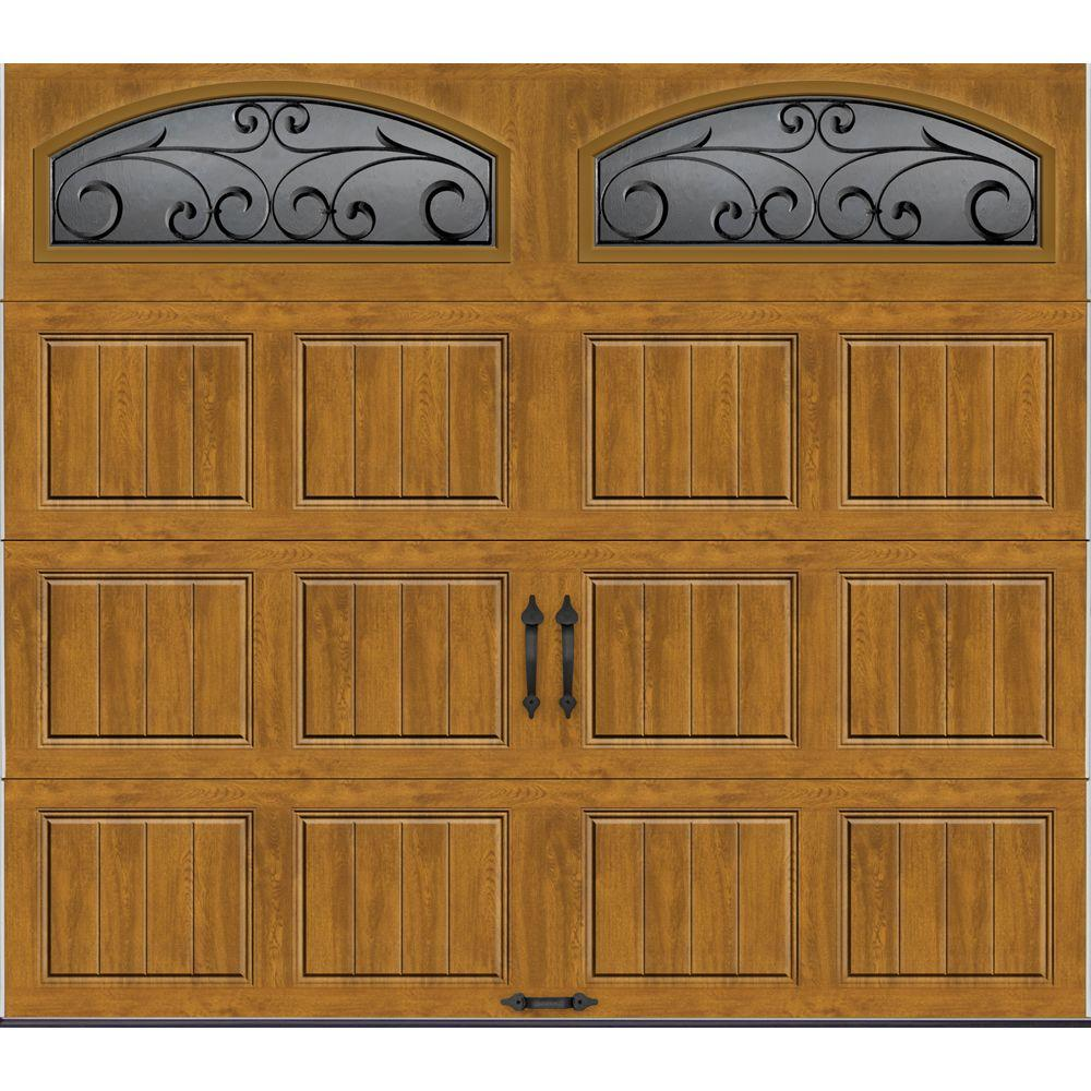 Clopay Gallery Collection 8 ft. x 7 ft. 6.5 R-Value Insulated Ultra-Grain Medium Garage Door with Wrought Iron Window