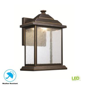 1-Light Rubbed Oil Bronze Outdoor LED Wall Lantern Sconce