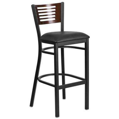 32 in. Black and Walnut Cushioned Bar Stool