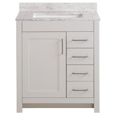 Westcourt 31 in. W x 22 in. D Bath Vanity in Cream with Stone Effect Vanity Top in Winter Mist with White Sink