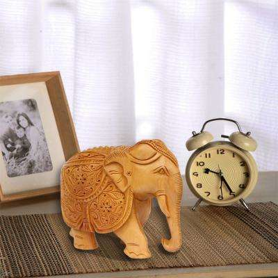 Elephant Kadam Wood Beige Hand Carved Statue