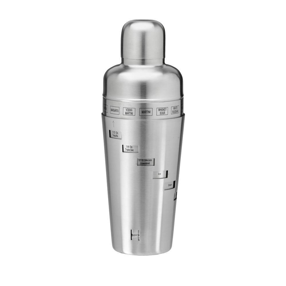 Kraftware 32 oz. Recipe Cocktail Shaker in Brushed Stainless Steel