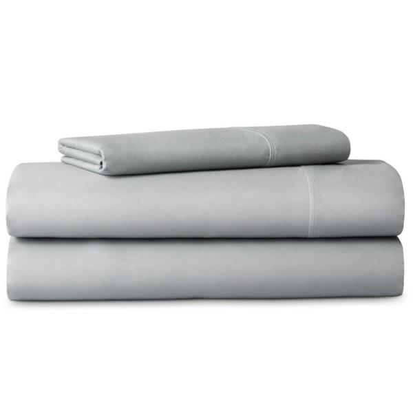 LUCID 3-Piece Brushed Microfiber Gray Twin XL Sheet Set