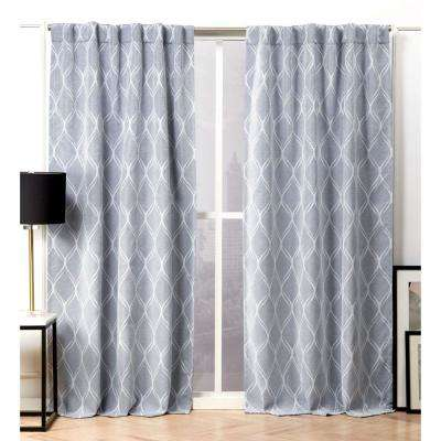 Circuit Chambray Blue Blackout Hidden Tab Top Curtain Panel - 52 in. W x 96 in. L (2-Panel)