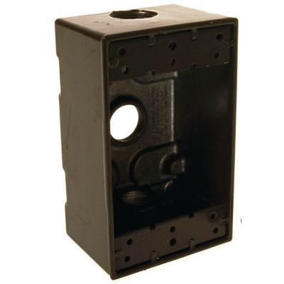 1-Gang Weatherproof Box, Three 1/2 in. Threaded Outlets, Bronze