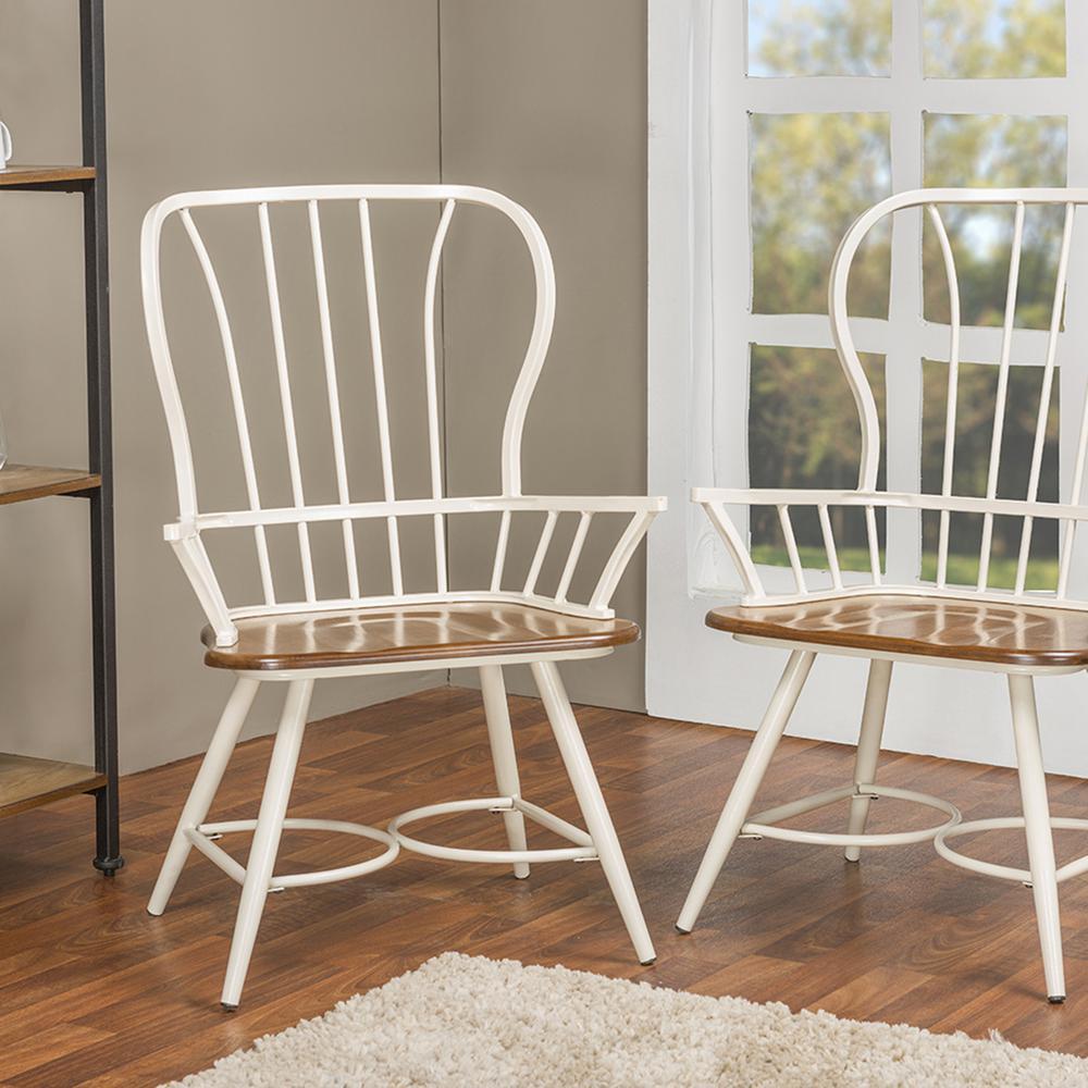Elfrida White Metal Dining Armchairs (Set of 2)