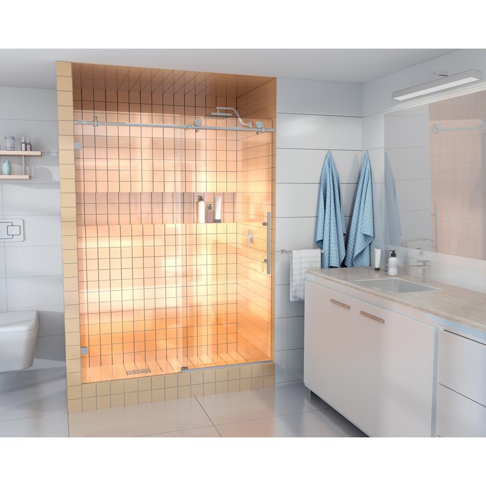 60 in. - 64 in. x 78 in Frameless Sliding Shower Door in Brushed Nickel with Handle