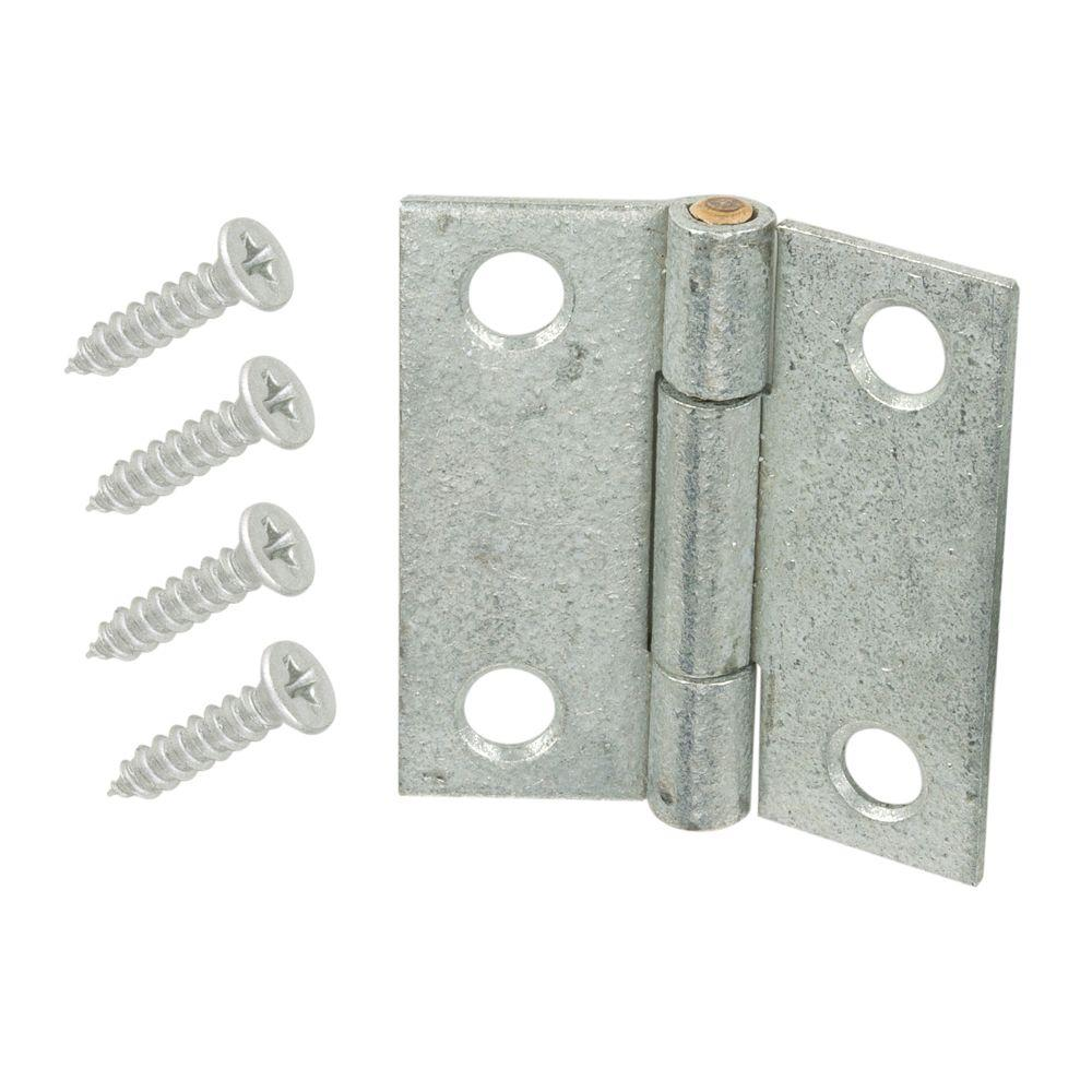 Everbilt 1-1/2 in. Galvanized Non-Removable Pin Narrow Utility Hinge (2-Pack)