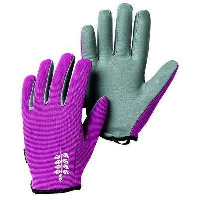 Garden Short Size 8 Medium Fitted Short-Cuffed Gardening Gloves with PU Palm and Fingers in Fuschia/Grey