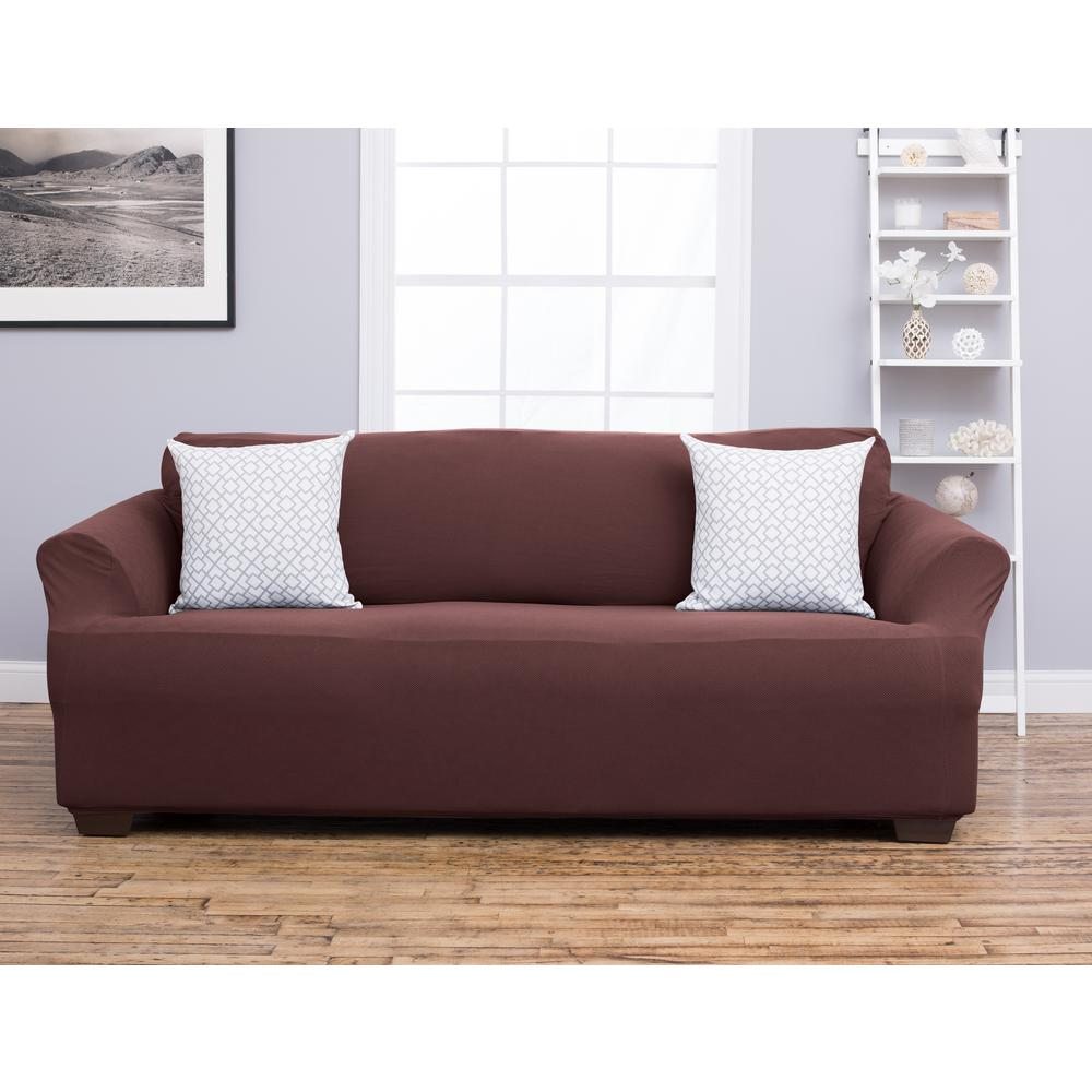 Great Bay Home Cambria Collection Chocolate Sofa Stretch Slipcover