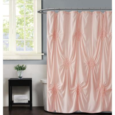 Georgia Rouched 72 in. x 72 in. Blush Shower Curtain