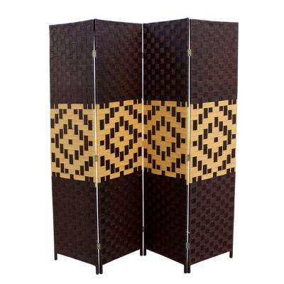 5.9 ft. Espresso 4-Panel Room Divider