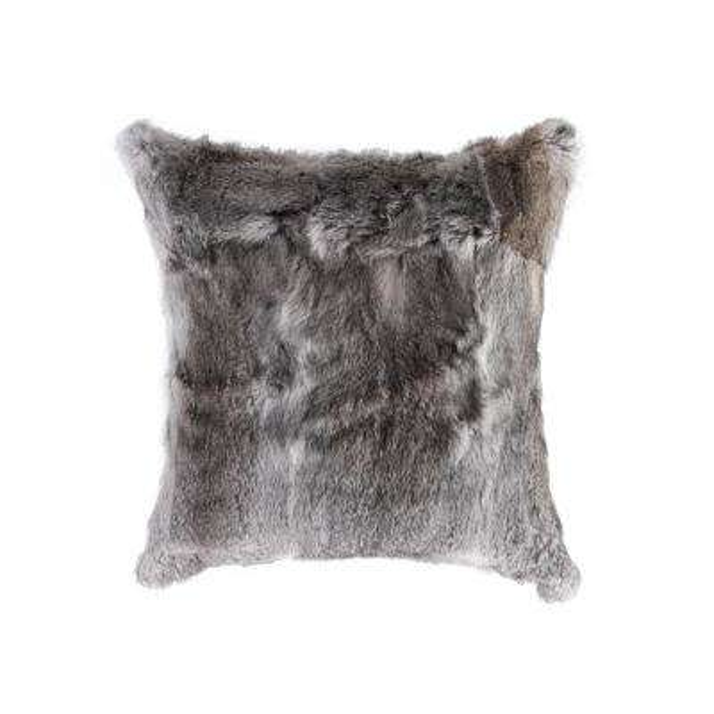Rabbit Fur 18 in. x 18 in. Grey Pillow