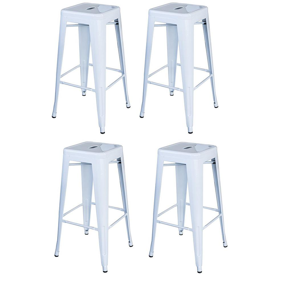 AmeriHome Loft Style 30 in. Stackable Metal Bar Stool in White (Set of 4) was $178.17 now $121.1 (32.0% off)