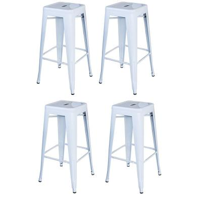 Loft Style 30 in. Stackable Metal Bar Stool in White (Set of 4)