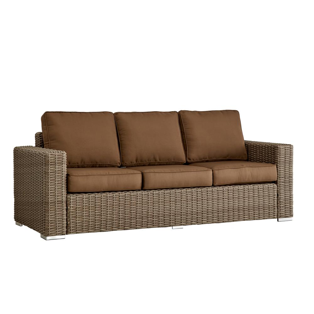 HomeSullivan Camari Mocha Square Arm Wicker Outdoor Sofa With Brown Cushion