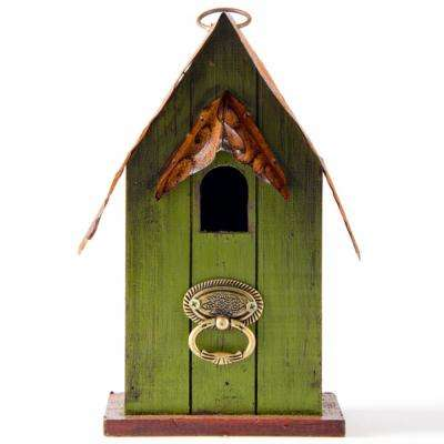 10 in. H Rustic Green Distressed Solid Wood Garden Decor Birdhouse