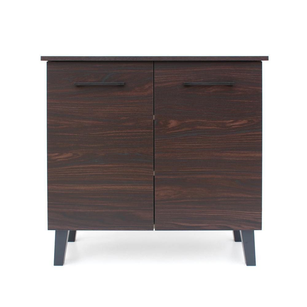 Noble House Walnut Brown 2-Door Cabinet with Sanremo Oak Interior