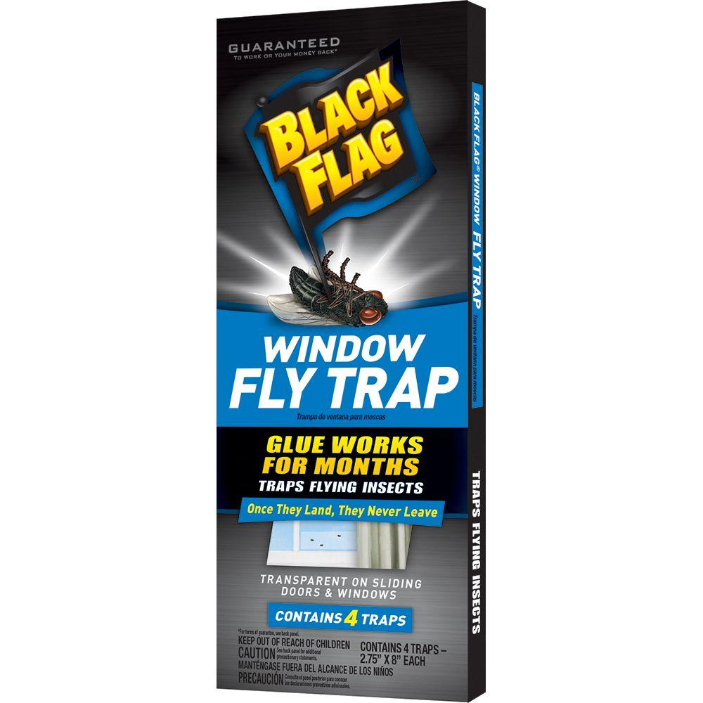 Black Flag Window Fly Trap 4 Pack Transparent Adhesive