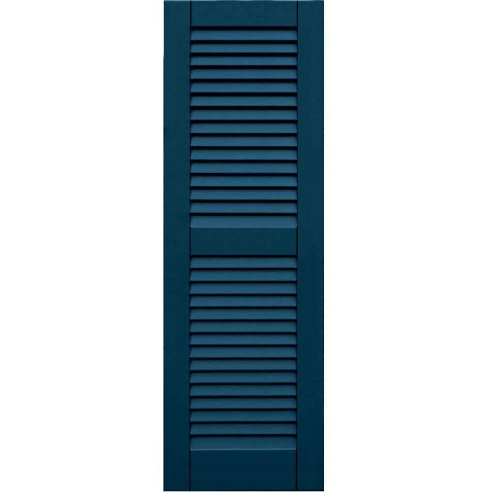 Winworks Wood Composite 15 in. x 46 in. Louvered Shutters Pair #637 Deep Sea Blue