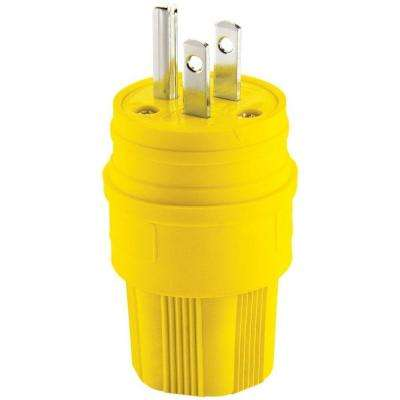 15 Amp 125-Volt 2-Pole 3-Wire Water-Tight Industrial Grade Plug, Yellow