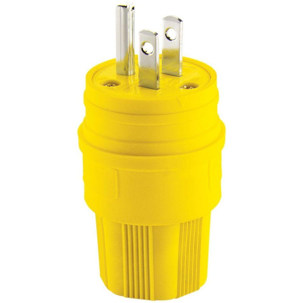 Eaton 15 Amp 125-Volt 2-Pole 3-Wire Water-Tight Industrial Grade Plug, Yellow