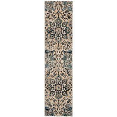 Carmel Ivory/Blue 2 ft. x 10 ft. Runner