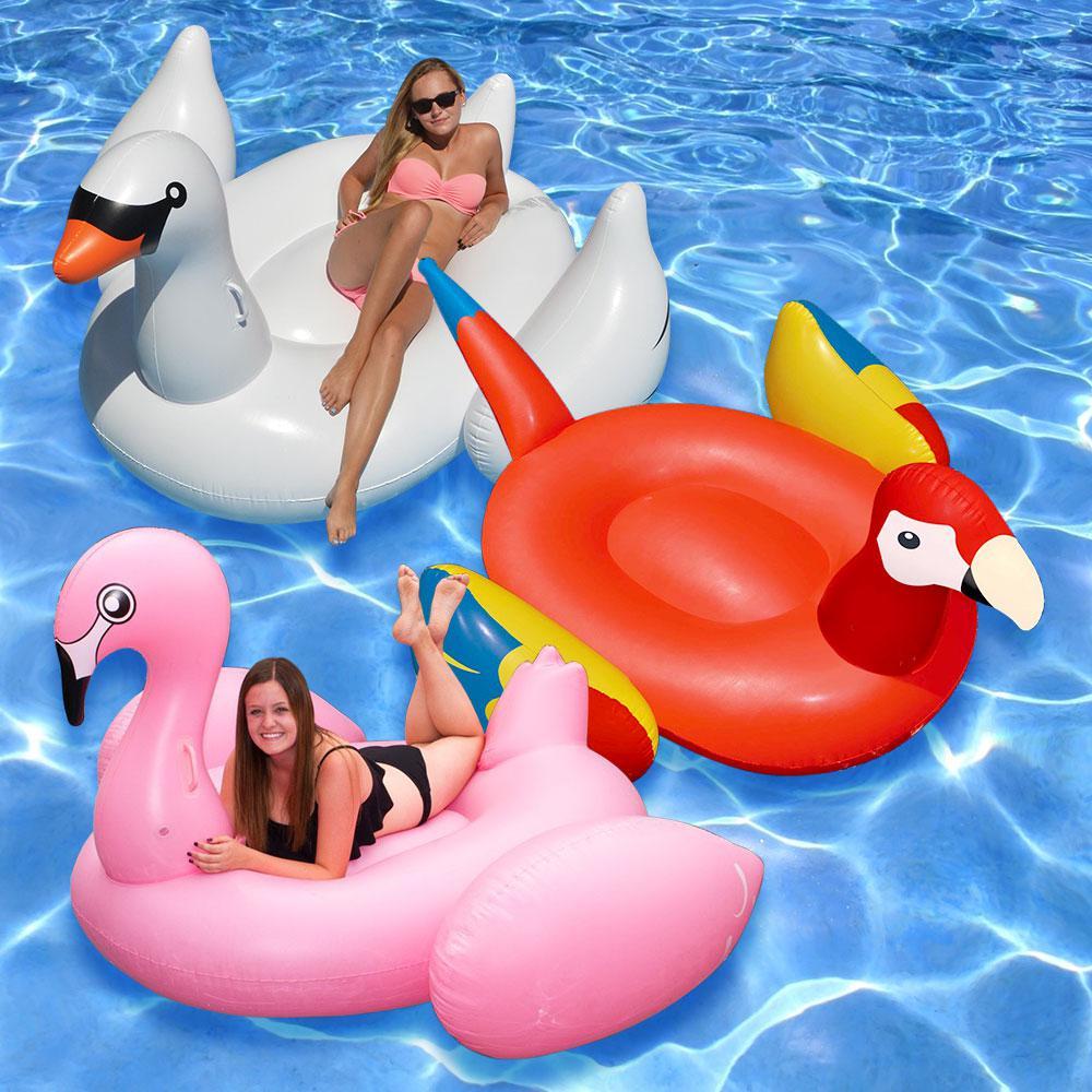 Swimline Giant White Swan Jumbo Flamingo And Parrot