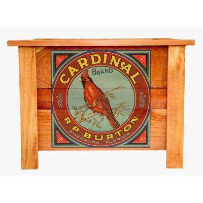 Hollis 22 in. Redwood Planter Box with Vintage Cardinal Art