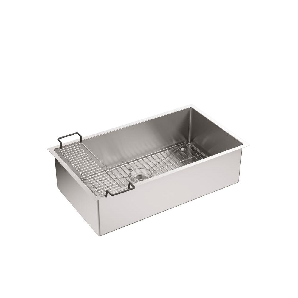Strive Undermount Stainless Steel 32 in. Single Bowl Kitchen Sink Kit