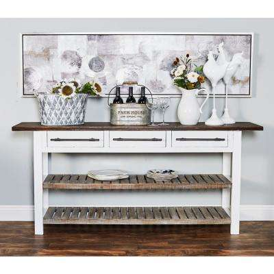 Stained Dark Brown 3-Drawer Table with Slatted Shelves
