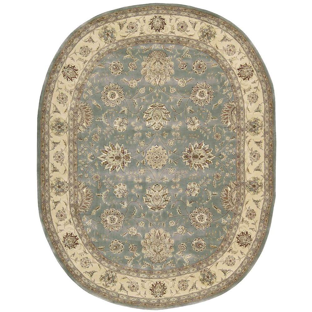 Nourison 2000 Blue 7 Ft. 6 In. X 9 Ft. 6 In. Oval Area Rug