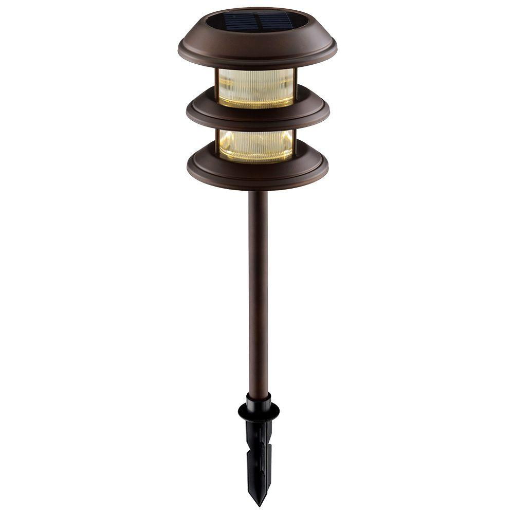 Hampton Bay Solar Mediterranean Bronze Outdoor Integrated Led 3