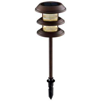 Solar Mediterranean Bronze Outdoor Integrated LED 3-Tier Landscape Path Light with Ribbed Glass Lens (6-Pack)