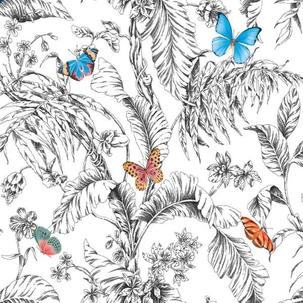 RoomMates 28.29 sq. ft. Butterfly Sketch Peel and Stick Wallpaper RMK11359RL